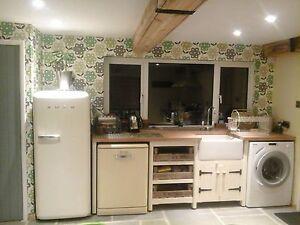 free standing kitchens kraftmaid gallery solid pine freestanding kitchen belfast butler sink unit oak top image is loading