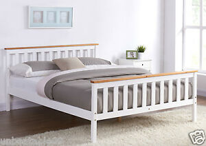 details about white wooden bed frame pine oak top double king single size and mattress option
