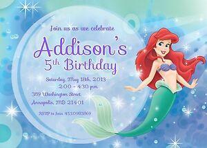 little mermaid princess ariel birthday party invitation ebay