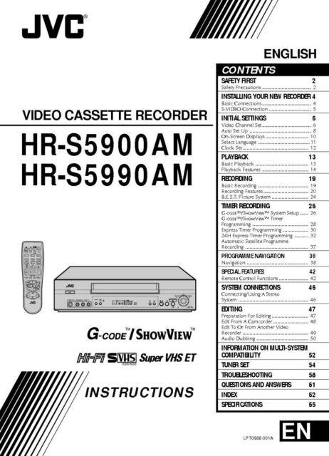 JVC HR-S5900AM HR-S5990AM HR-S5990AM EA VCR Owners