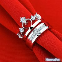 Queen Crown Cross Silver Couple Rings Wedding Band His and ...