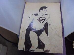 Original Hand Drawn Comic Art Kirk Alyn As Superman Drawn F Bulton Bolton? 1981