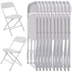 White Folding Chairs Kneeling Office 10pcs Commercial Plastic Stackable Wedding Party Chair