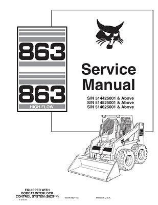 New Bobcat 863 863HF Highflow 2010 Edition Printed Repair