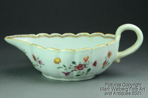 Chinese Export Armorial Porcelain Gravy Boat, Coat of Arms & Flowers, 18th C.