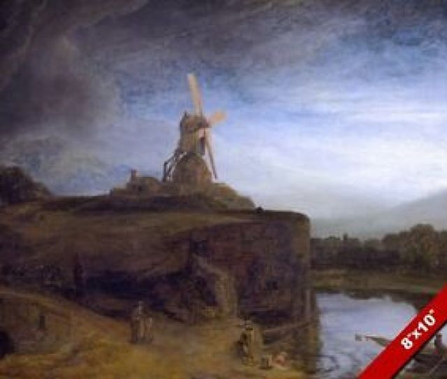 Image Is Loading The Wind Mill Painting By Rembrandt Dutch Landscape