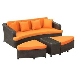 lexmod monterey outdoor wicker rattan sectional sofa set eclectic east end imports patio brown orange ebay stock photo