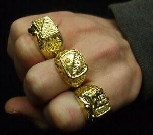 70s 80s 1980s Fancy Dress 3 x Gold Coloured Metal Rings