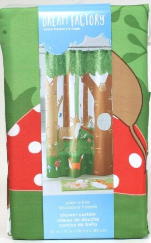 huis dream factory 70 in x 72 in peek a boo woodland friends polyester shower curtain luxclusif com