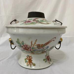 A set of Chinese porcelain antique heat pot warmer holder vase bowl scholar art