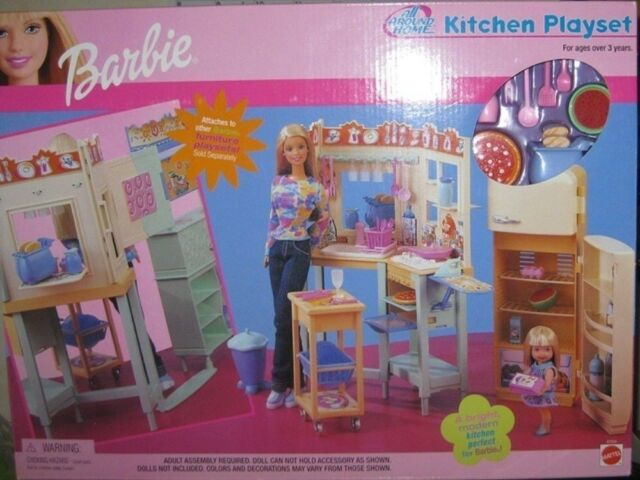 barbie kitchen playset led ceiling lighting all around home nrfb dated 2000 ebay