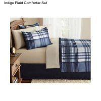 Indigo Plaid Queen Size Comforter Set Bedding Bedspread ...