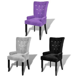 high back dining chair kneeling staples luxury tufted velvet accent armchair purple image is loading