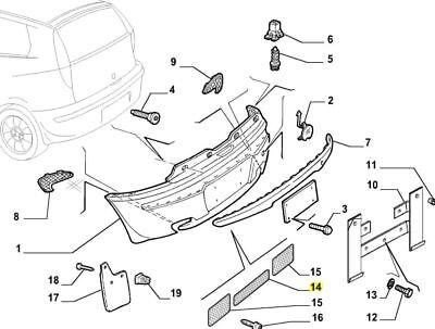 Mk2 188 Fiat Punto Abarth Rear Bumper Center Grille Mesh