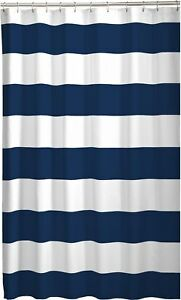 details about nautical striped shower curtain navy blue white fabric canvas 70 x 72