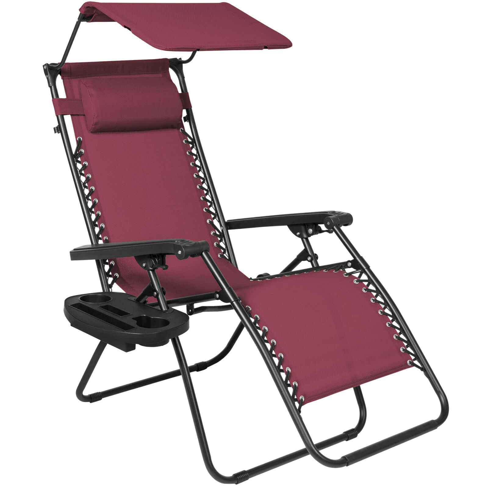 Gravity Lounge Chair Best Choice Products Folding Zero Gravity Lounge Chair With Canopy Shade Magazine Cup Holder Burgundy
