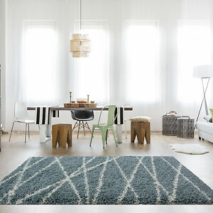 shaggy rugs for living room decorative mirrors ireland soft fluffy duck egg rug modern thick lines geometric image is loading