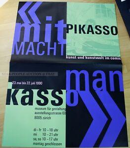 swiss EXHIBITION xxl POSTER 1990 - ART AND ART WORLD IN COMIC art print zürich