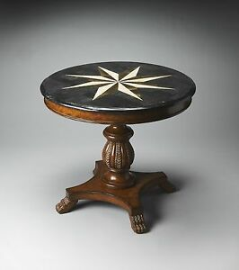 Traditional Round Foyer Hall Accent Table Fossil Stone Sunburst Top Carved  eBay
