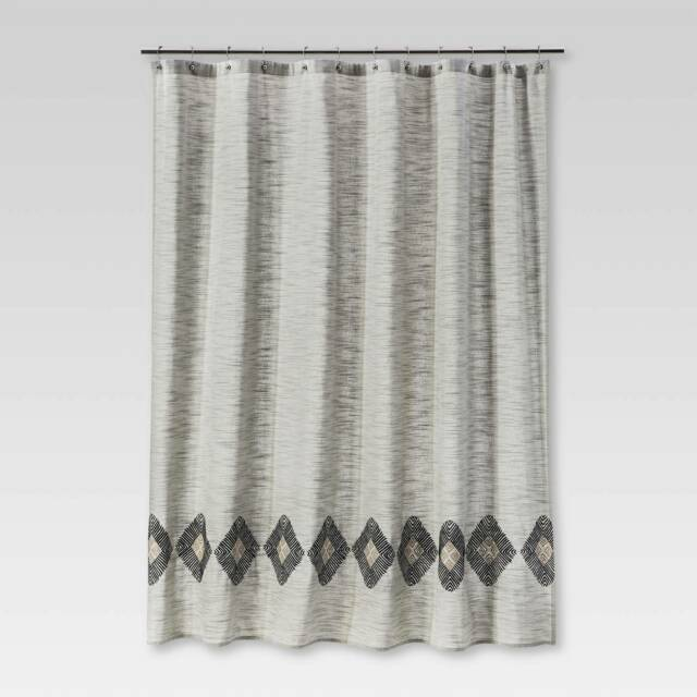 solid threshold sour cream gray black embroidered diamond shower curtain
