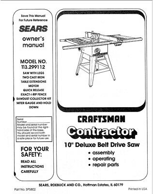 Craftsman 113.299112 Belt Drive Saw Owners Instruction