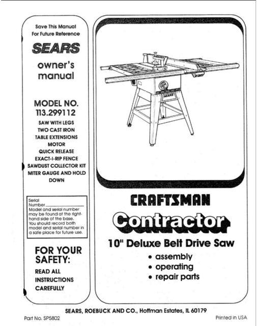 Craftsman 113.299112 Belt Drive Saw Owners Instruction