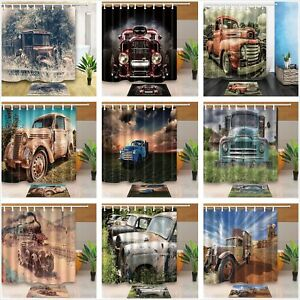 details about vintage truck old car tractor culture fabric bath shower curtains and mat set