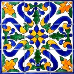 Decorative Ceramic Tiles Kitchen White Wooden Chairs Mosaic Panel Hand Painted Back Image Is Loading
