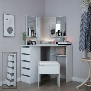 Corner Dressing Table In White Makeup Desk With Mirror Stool With Drawers Ebay