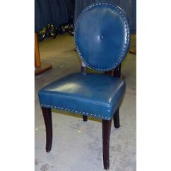 Pier One Round Chair Jungalow Hanging 1 King Louis Style Back Blue Vinyl Wood Single Image Is Loading