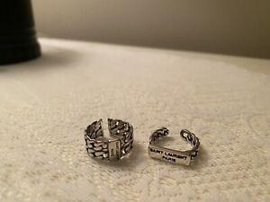 New Saint Laurent Paris Sterling Silver Ring Lot Of 2. Size 7-8 Adjustable | eBay