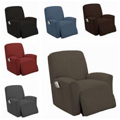 Recliner Chair Covers Grey Summer Bentwood High Stretch Slipcover Couch Cover Sofa Furniture Image Is Loading