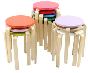round wooden chair covers 4 you wood stool kitchen bar diy ebay image is loading