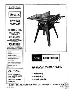 Craftsman 10 Inch Table Saw Model 113 Manual
