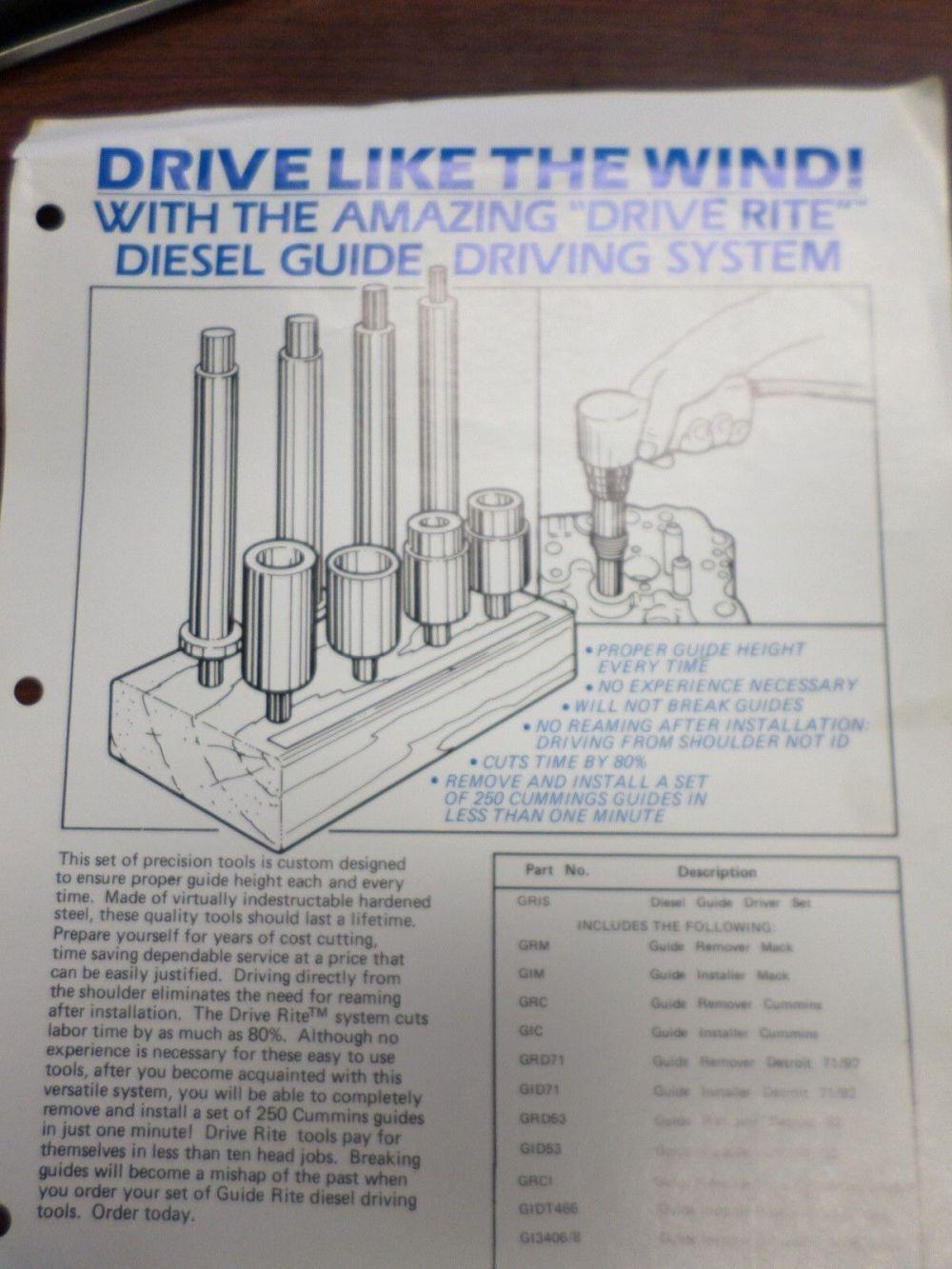 medium resolution of diesel engine valve guide drivers cylinder head repair tools mack truck ebay