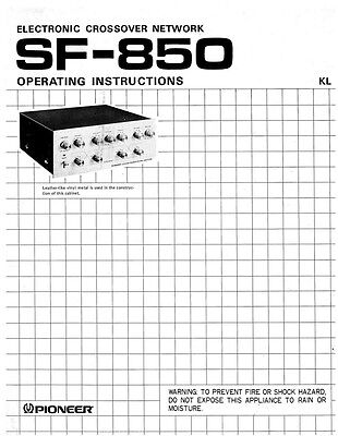 Pioneer SF-850 Electronic Crossover Network Owners Manual