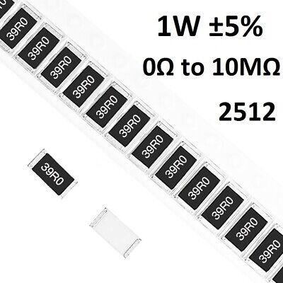2512 SMD/SMT Resistors 1W Chip Resistance ±5%- Range of