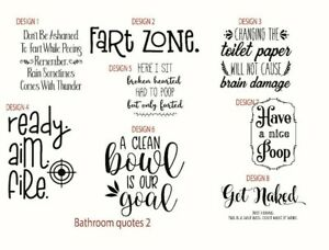 Bathroom Toilet Quotes Funny Novelty Decals Sticker Shower Home Family Wall Bq2 Ebay
