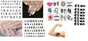 Leo Star Sign Zodiac Collection Nail Art Tattoos Ebay
