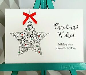 5 Pack PERSONALISED Handmade Christmas Cards Gem Ribbon