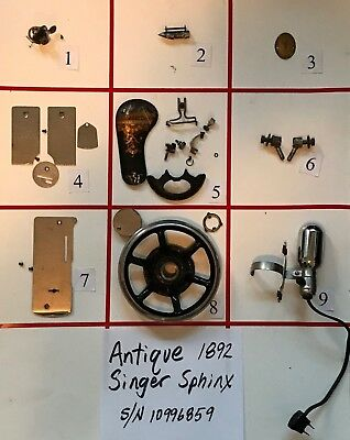 Singer Treadle Sewing Machine Parts : singer, treadle, sewing, machine, parts, ANTIQUE, SINGER, SPHINX, SEWING, MACHINE, PARTS, (Free, Shipping)