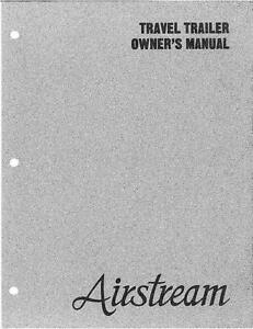 Airstream 1988 Travel Trailer Owners Manual User Guide