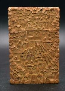 Fine Antique 19thC Qing Chinese Carved Sandalwood Card Case - Excellent Detail