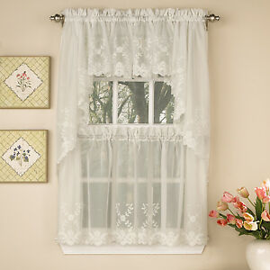 swag kitchen curtains redoing a laurel leaf sheer voile embroidered ivory tier image is loading