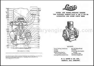 Lister A & B Stationary Engine Instruction & Parts Book
