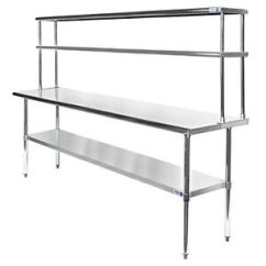 Kitchen Prep Table High End Cabinets Commercial Stainless Steel With Double Overshelf Image Is Loading