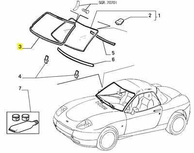 Fiat Barchetta Font Outer Wind Screen Rubber Seal 47300296
