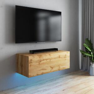 details sur meuble tv suspendu skylara 100 140 160 2x100 cm chene wotan led bleue