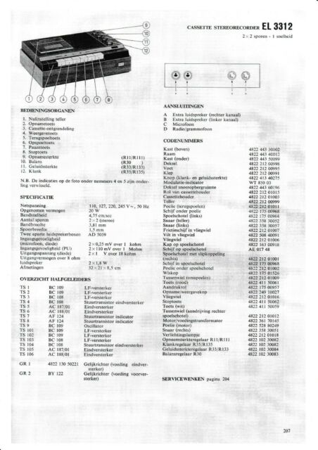 Service Manual Instructions IN Dutch for Philips El 3312