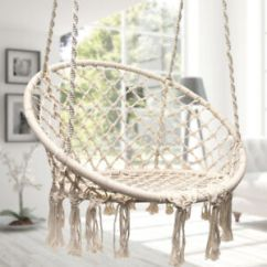 Swing Chair Seat Burlap Dining Room Covers Beige Hanging Hammock Cotton Woven Rope Wooden Bar Patio Image Is Loading